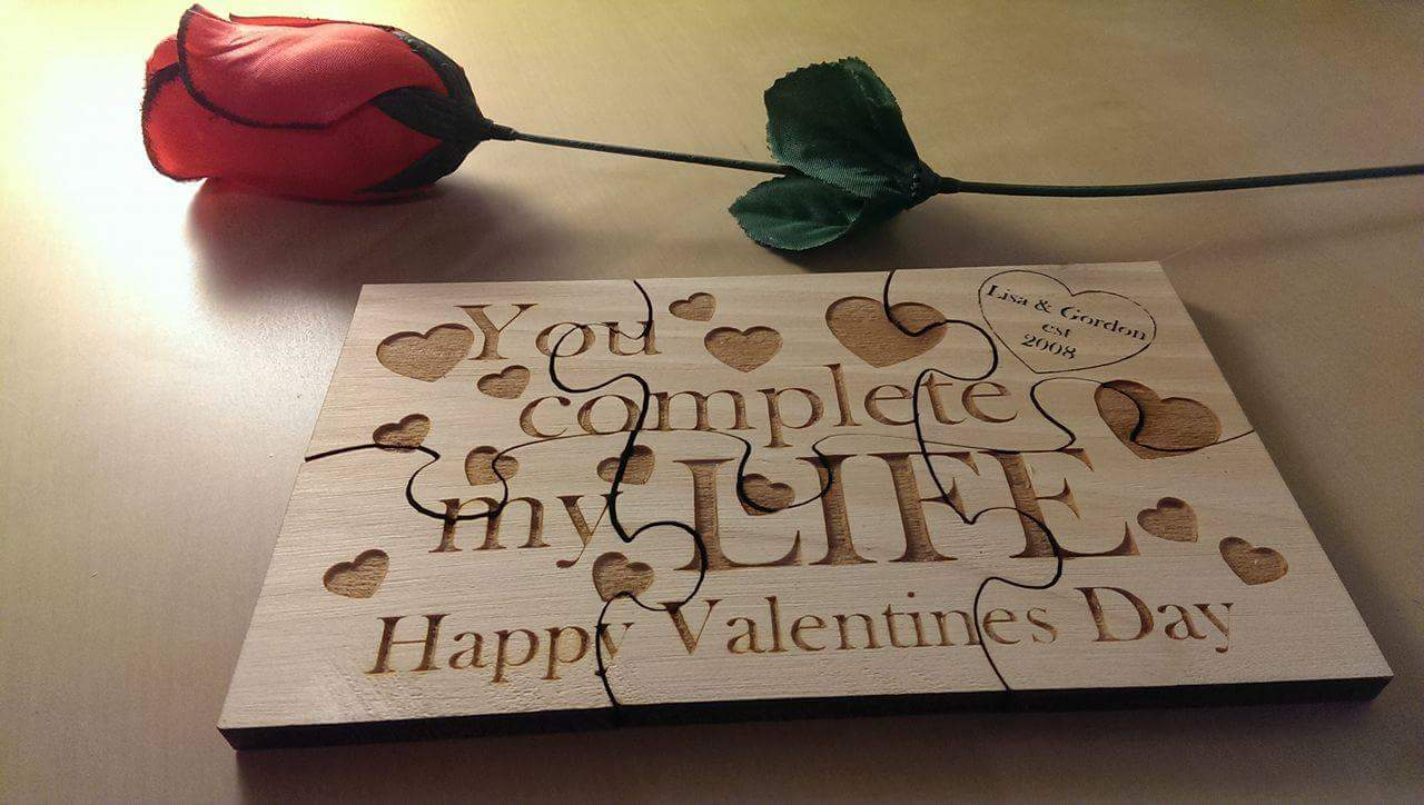 Personalised Romantic gifts from Liverpool Pallet Designs. Solid wood personalised jigsaw with heart and detailing.