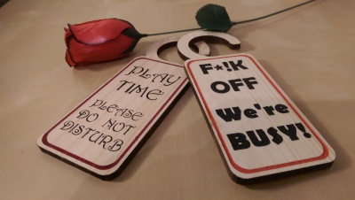 Naughty door hangers from Liverpool Pallet Designs. Personalised and hand painted.