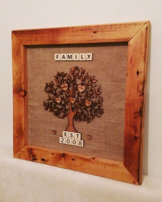 Family tree made from reclaimed wood and laser cut detailing