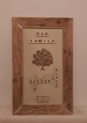 Family Tree Solid wood pallet frame with hand painted solid wood scrabble tiles