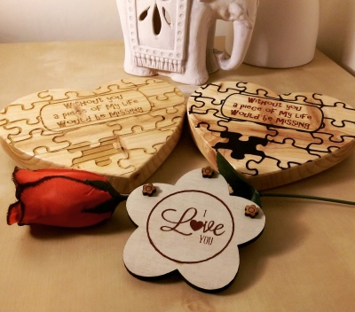 Wooden heart jigsaw message. Romantic personalised gifts from Liverpool Pallet Designs