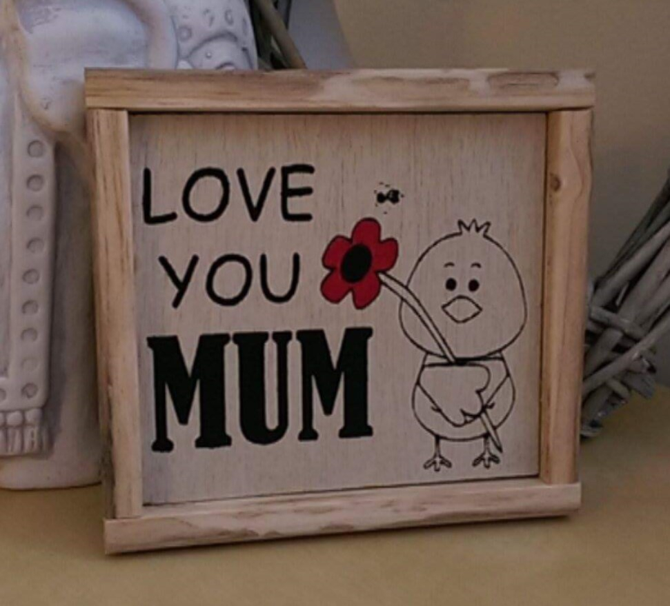 Mothers Day gift frame. Solid wood frame with laser engraved picture and hand painted