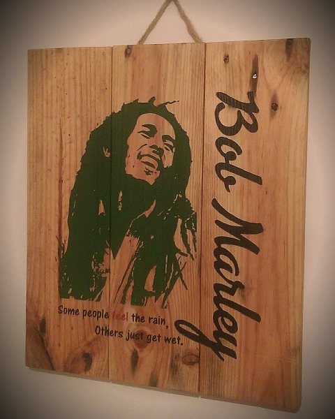 Laser engraved Bob Marley Pallet wall art by Liverpool Pallet Designs