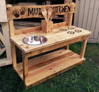 Childrens outdoor play furniture mud kitchen.