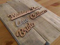 Laser cut wooden place names
