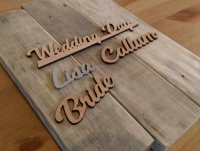 Laser cut wooden place names
