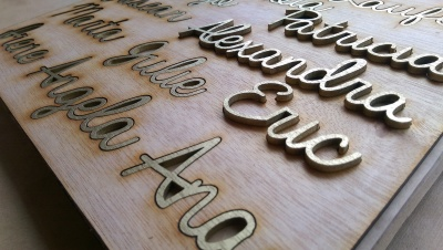 Gold laser cut wooden names in safe hold packaging.