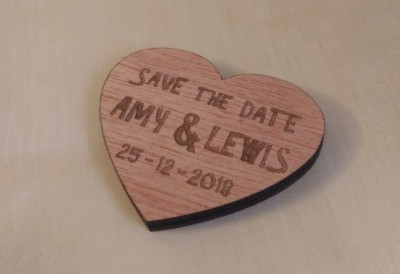 Laser cut wooden Save the Date tokens