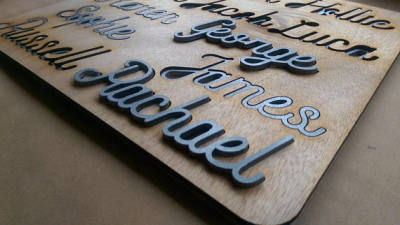 Silver laser cut names.