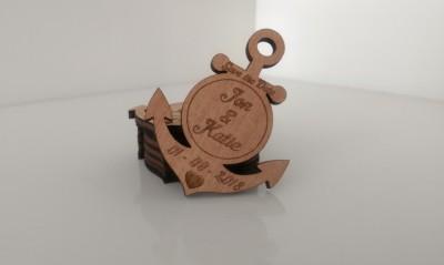 Anchor shape Save the Date token nautical theme