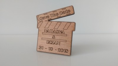 Laser cut Save the Date tokens