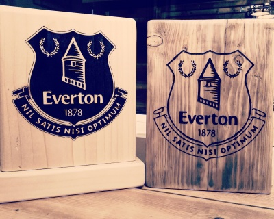 Everton football club reclaimed wood plaque with hand painted detailing