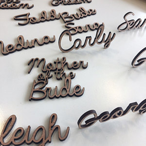 Wooden laser cut names
