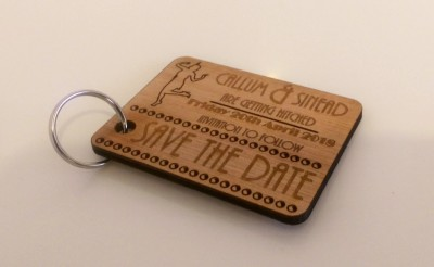 Gatsby style laser cut Save the Date tokens