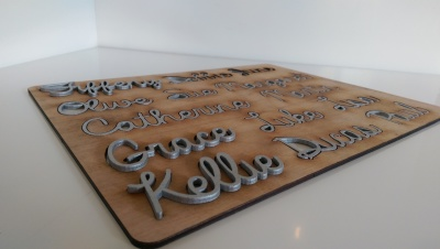 Silver laser cut names