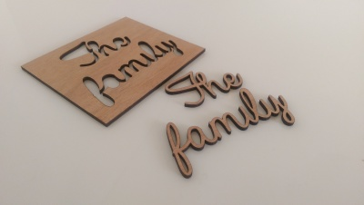 The family laser cut names.