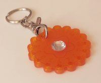 Orange slimming diet keyring with diamante centre.