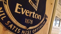 Close up of Everton badge hand painting