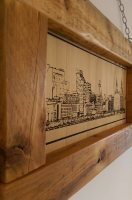 Laser engraved skyline of Liverpool, hand painted and mounted in solid oak frame.
