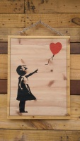 Banksy girl with balloon laser engraved wooden picture hand painted and hung on chain