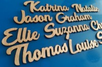 Laser cut natural wood names