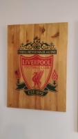 Liverpool Football Club large laser cut hand painted wooden wall hanging