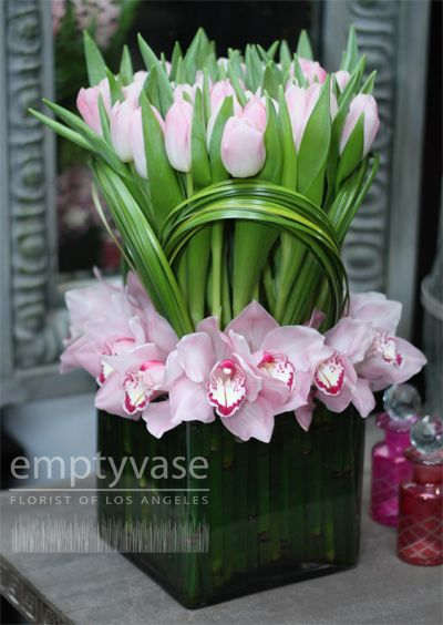 Pink tulips & orchids
