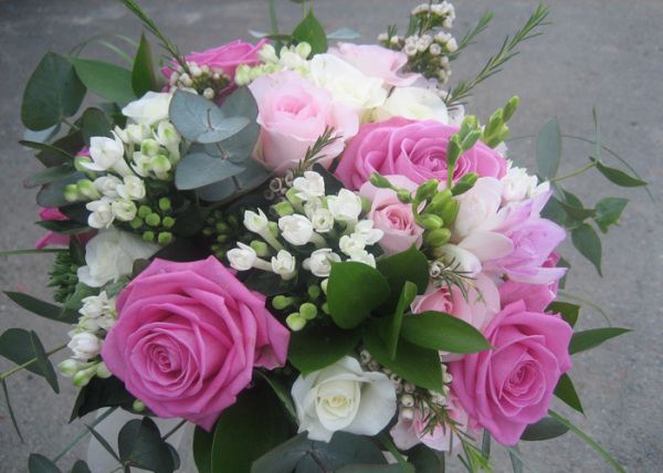 pink and white roses, with eucalyptus and white stephanotis