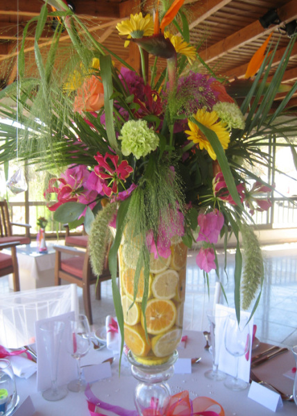 pink, lime greens, yellow, reds & orange made a tropical display