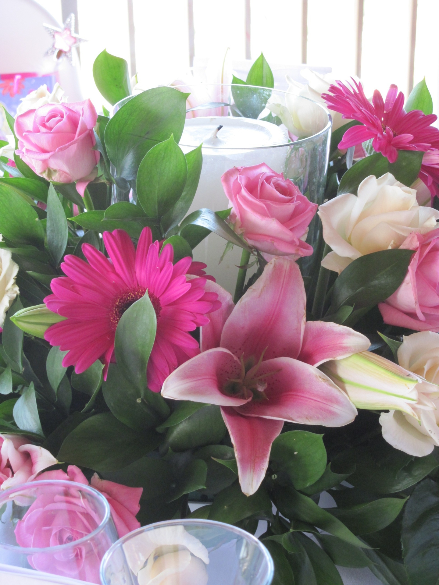 pink oriental lilies, pink gerbera, white and pink roses