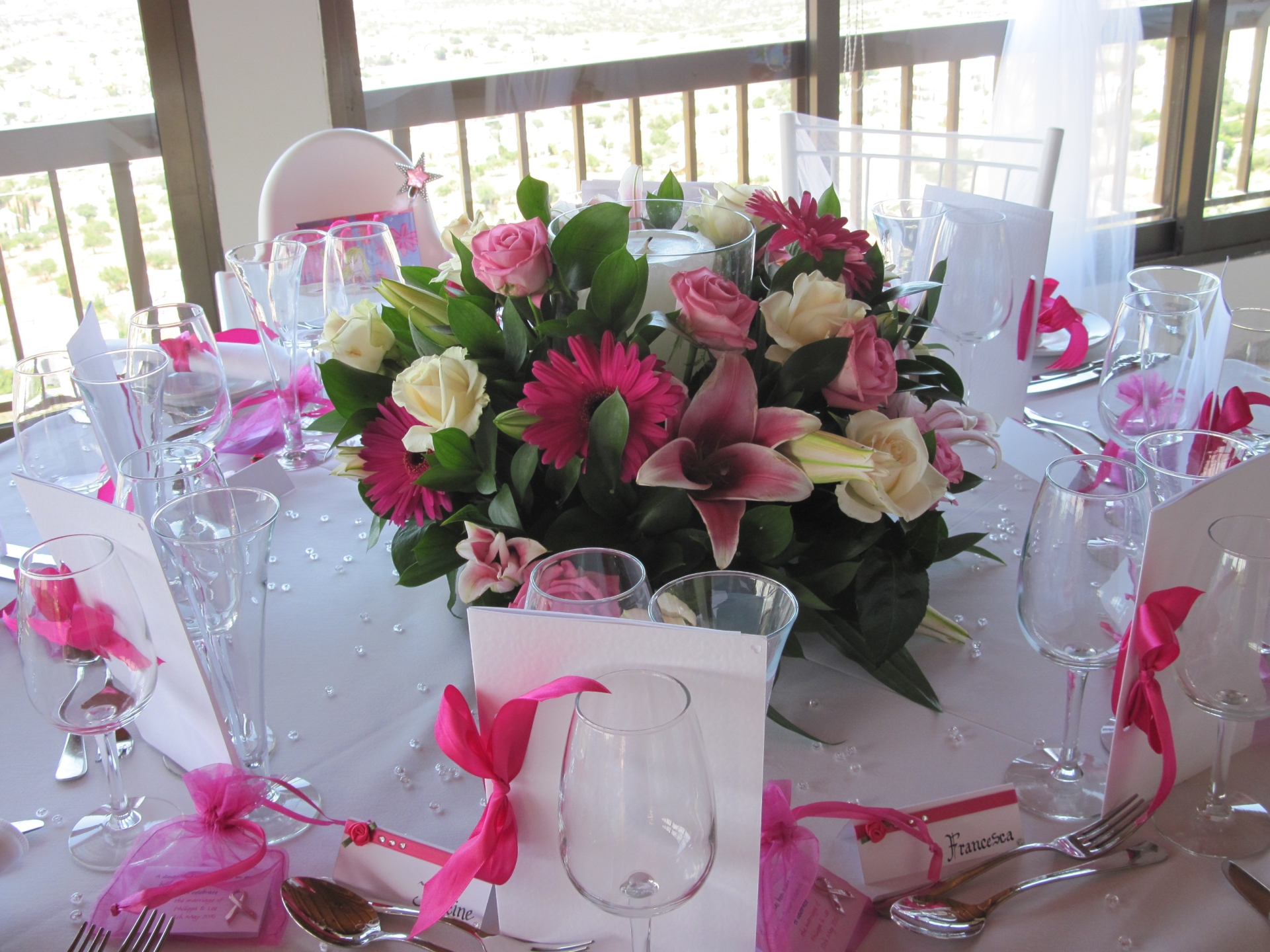lovely stargazer lilies, with pink gerbera, white roses and pale pink roses