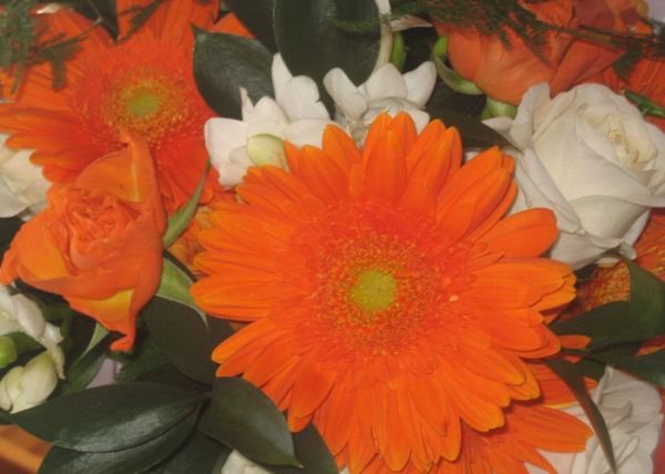 Orange gerbera's, white roses & white freesia's make a beautiful table display