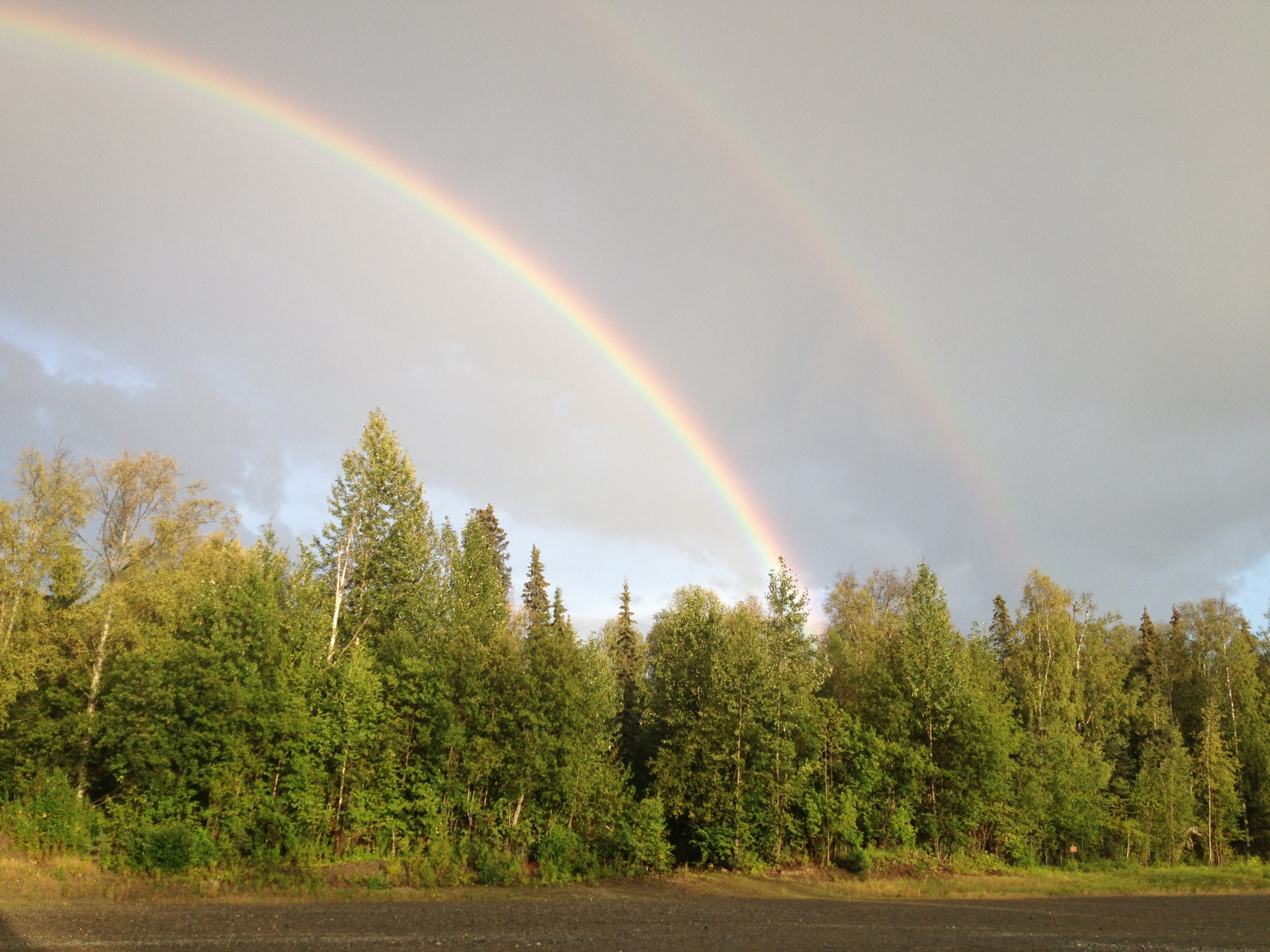 double rainbow over our private airstrip