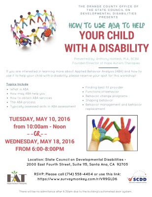 "alt=""A flyer about City of Santa Ana, Seminar about children with a disability"""