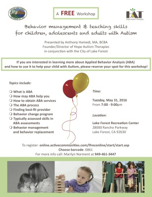 "alt=""A flyer about Behavior management seminar for individuals with Autism"""