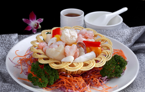 Combination Seafood in Bird's Nest