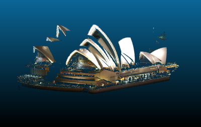 A lidar scan of the Sydney Operahouse that was colored using our automated registration approach and an image sourced from the internet.