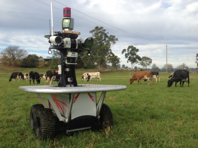 The ACFR Shrimp robot collecting data in an agricultural field