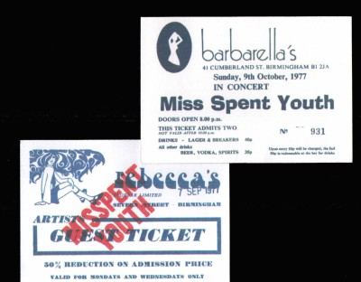 Barbarellas Rebeccas Tickets from Rare Punk New Wave CD by Misspent Youth