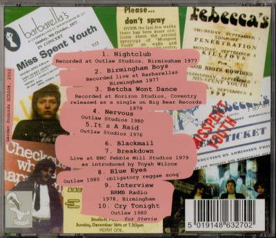 CD Sleeve from Rare Punk New Wave CD by Misspent Youth