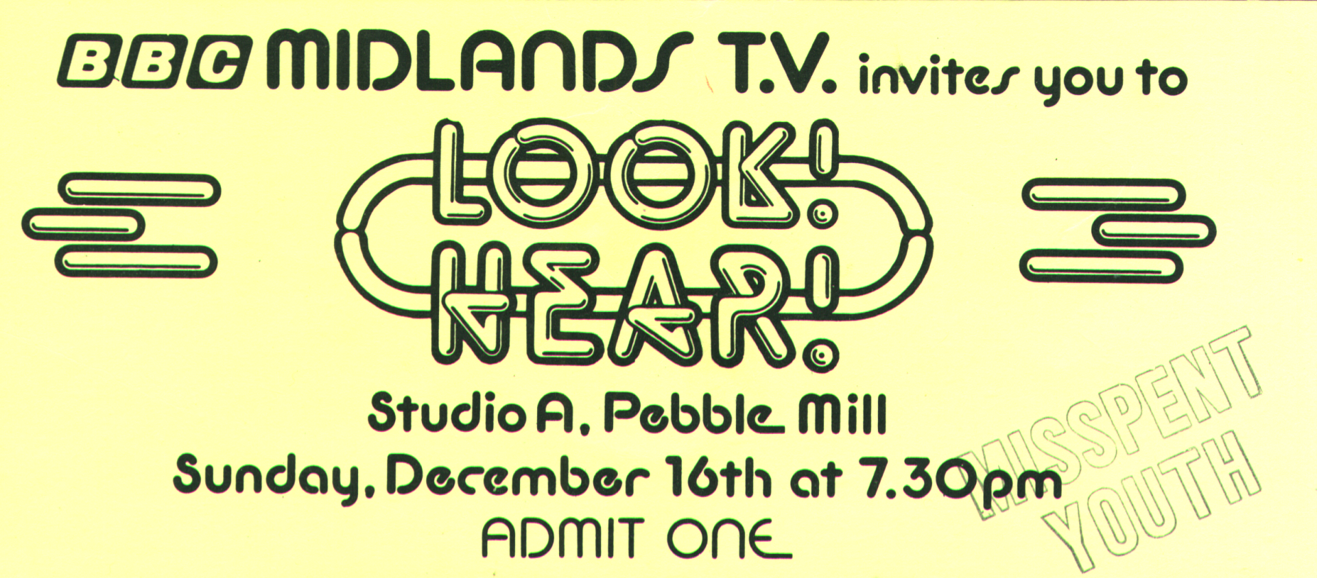BBC TV Pebble Mill Look Hear Ticket for Misspent Youth 1979