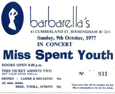Barbarellas Nightclub Birmingham Door Ticket for Misspent Youth Gig