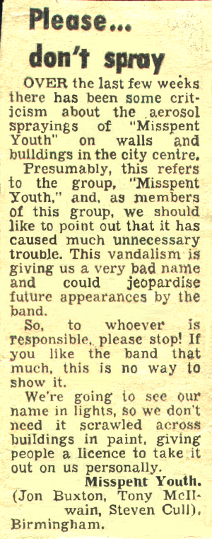 Birmingham Evening Mail Letter from UK Punk Band Misspent Youth 1976