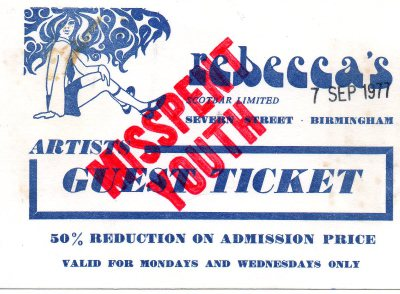 Rebeccas Nightclub Birmingham 1977 Misspent Youth Door Ticket
