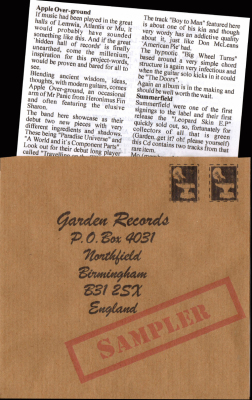 Garden Records Sampler Booklet Mega Rare 50 only