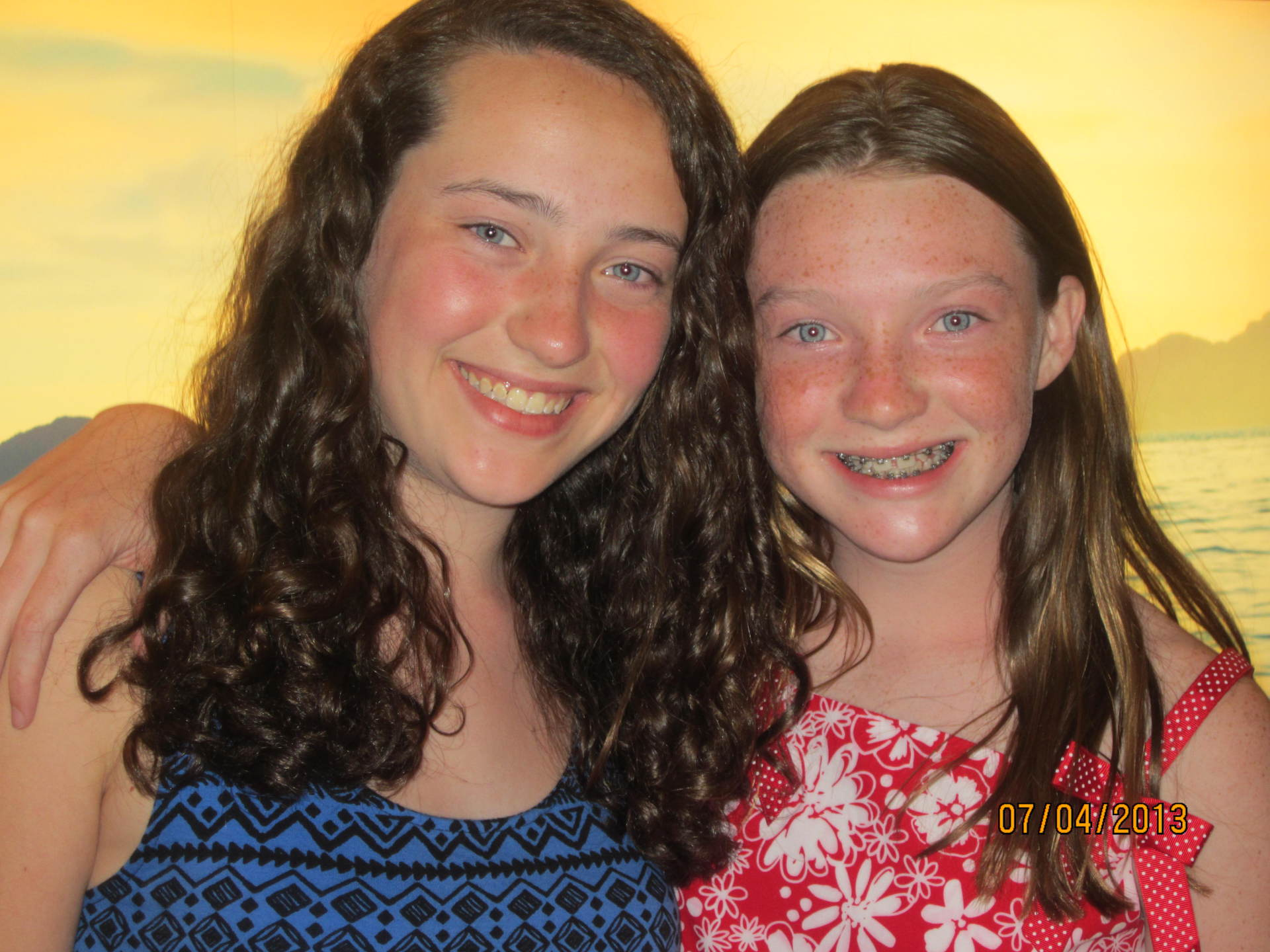 Anna with her sister Emily a week prior to being diagnosed