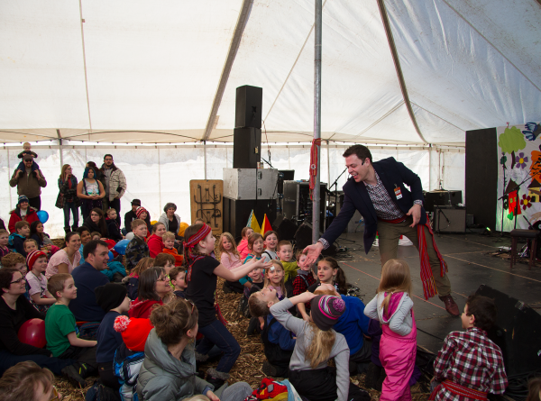Winnipeg Magician Patrick Gregoire performing at Festival of Fools
