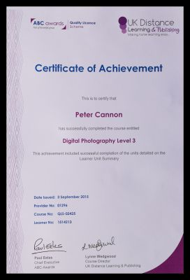 Peter Cannons photography certificate