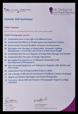 Peter Cannons photography course study subject list
