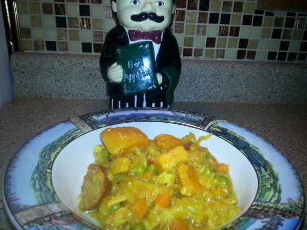 Curry Sauerkraut Sweet Potato Sausage Stew